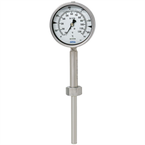 Gas-actuated thermometer, highly vibration resistant